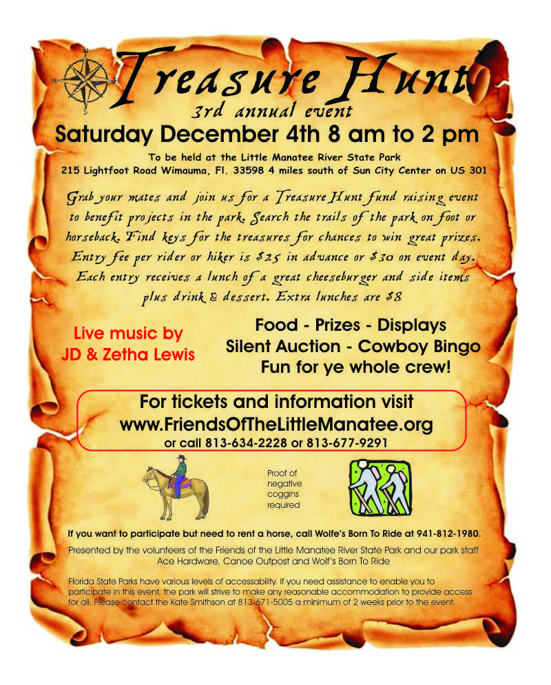 Flyer for the 12/4/21 treasure hunt event